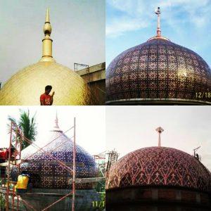 Kubah tembaga. Kubah masjid tembaga. Harga kubah tembaga. Kubah emas